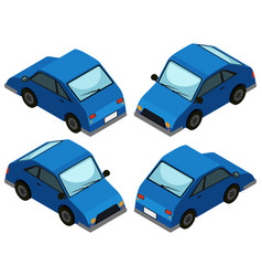 Blue car from four different angles vector