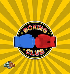 Boxing labels Boxing gloves emblem Club vector image