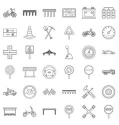 Bridge icons set outline style vector