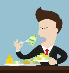 businessman eat money bill and coin as meal vector image