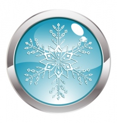 Button with snowflake vector