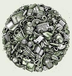 cartoon doodles school round vector image