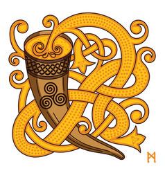 Celtic scandinavian design drinking horn vector