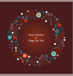 christmas wreath with deers birds snowflakes vector image