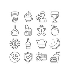 Cognac bottle gingerbread man and tea bag icons vector