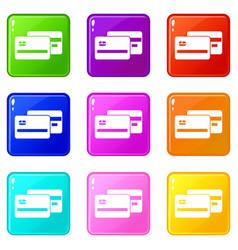Credit card icons 9 set vector