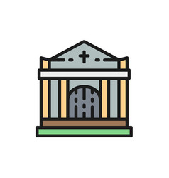 crypt tomb house cemetery church flat color vector image