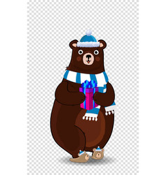 cute cartoon bear in santa hat and scarf vector image
