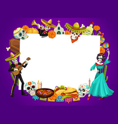 day dead in mexico dancing woman man skeletons vector image
