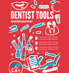 dentist or dental tool banner dentistry clinic vector image