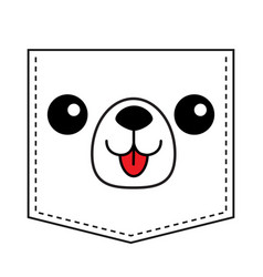 Dog head face silhouette icon pocket print vector