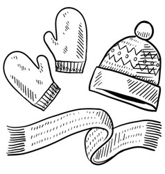 doodle winter mittens hat scarf vector image