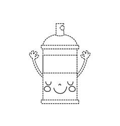 Dotted shape emoji cute happy aerosol spray vector