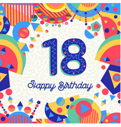 Eighteen 18 year birthday greeting card number vector