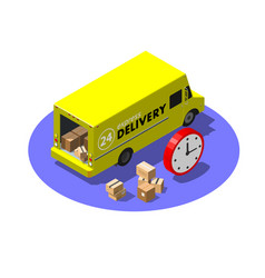 express delivery service concept with yellow van vector image
