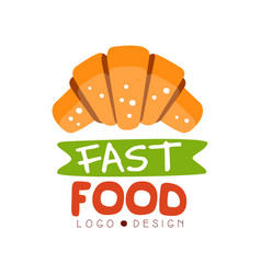 Fast food logo design badge with croissant sign vector
