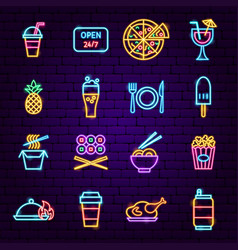fast food menu neon icons vector image