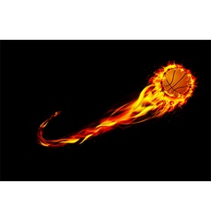 Fire burning basketball with background black vector