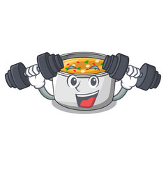 fitness vegetable soup with pasta in pot cartoon vector image