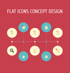 Flat icons touch press touchscreen and other vector