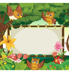 Frame template with three owls flying in jungle vector