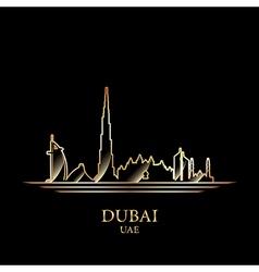 gold silhouette dubai on black background vector image