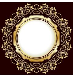 Gold vintage frame with floral ornamental border vector