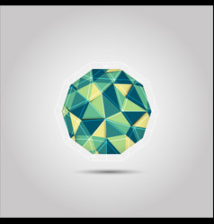 green and yellow sphere mosiac polygon shape icon vector image