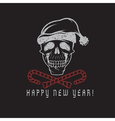 Grunge skull with candies in his mouth and a santa vector