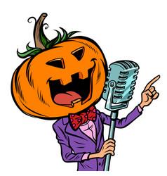 Halloween pumpkin character singer isolate on vector