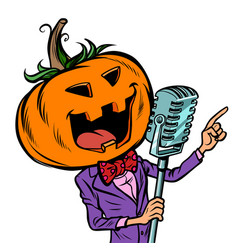 Halloween pumpkin character singer isolate vector