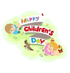 Happy Childrens Day Boy and girl Lettering text vector
