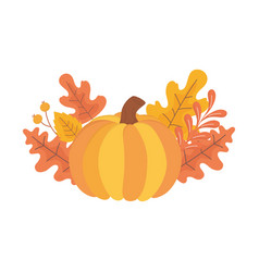 happy thanksgiving day pumpkin fall leaves foliage vector image