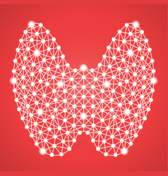 human thyroid isolated on a red background vector image