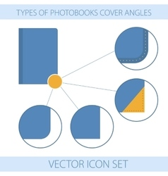 Icons of type a photobooks cover angles vector