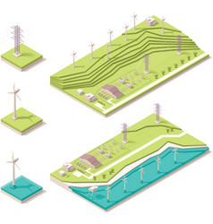 Isometric wind farm vector image