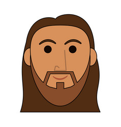 jesuschrist man face cartoon vector image