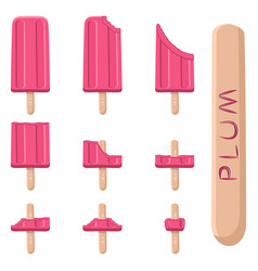 logo for natural plum ice cream vector image