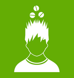 Man with tablets over head icon green vector