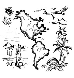 map north and south america vector image