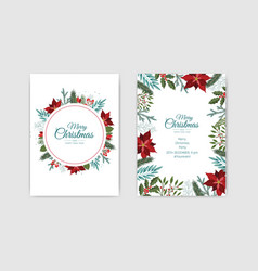 Merry christmas and new year cards with pine vector