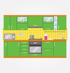 Modern kitchen wall interior vector