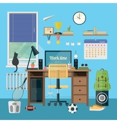 Modern workplace in room vector image