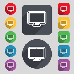 monitor icon sign A set of 12 colored buttons and vector image