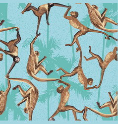 monkey jungle seamless pattern vector image