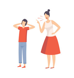mother scolding her teenager boy conflict vector image