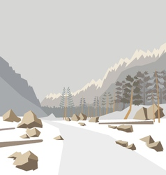Mountain winter landscape vector image