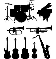 Musical instruments silhouettes collection vector