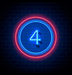 neon city font sign number 4 vector image