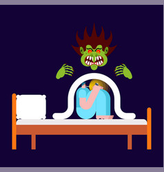 Nightmare guy under blanket fears vector